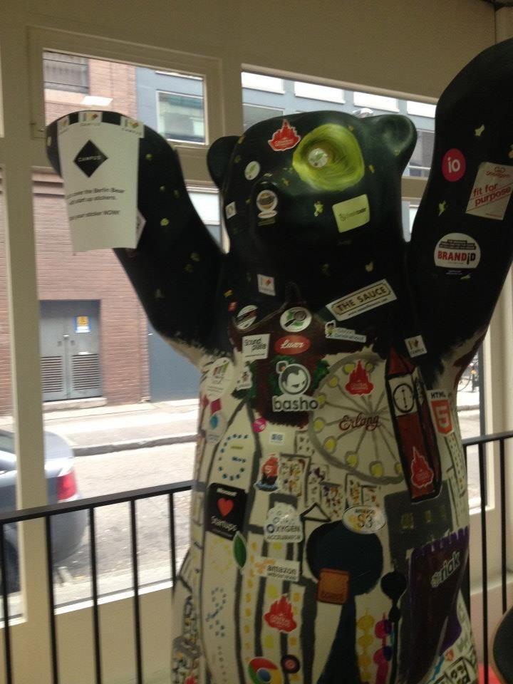 Holvi's Build a Bank   London 2013 - Bear at Google Campus - spot the Holvi sticker, if you can! #Holvi #FinTech #FutureOfBanking