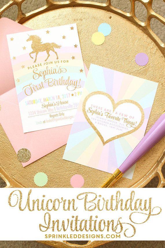 Unicorn Invitation, Unicorn Birthday Invitation, Unicorn Party Invitation, Magical Unicorn Party, Rainbow Unicorn Invitation, Unicorn Invite - SprinkledDesigns.com