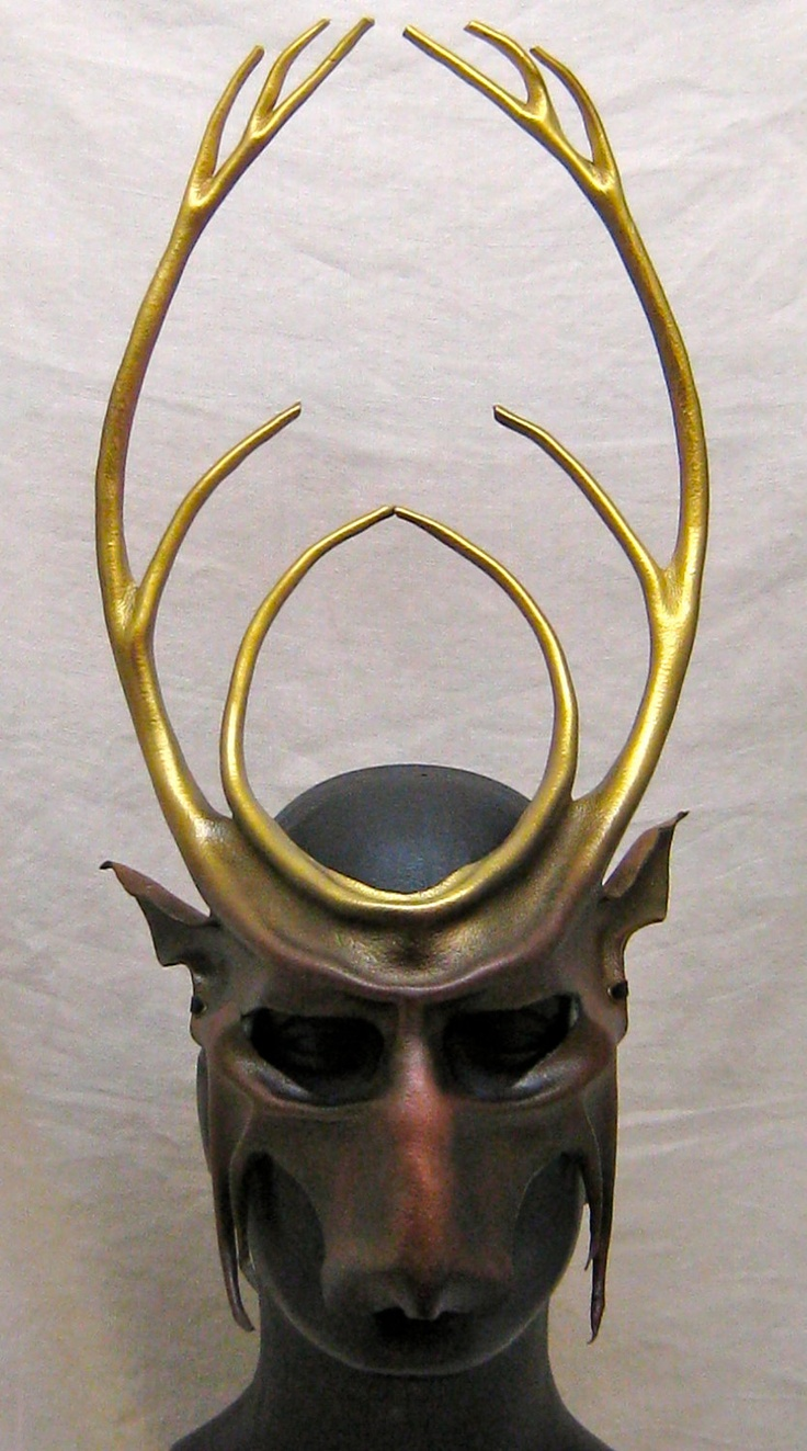 Majestic leather stag mask, Cernunnos, handsome deer, dark chestnut brown, bright golden antlers reinforced with hidden wire