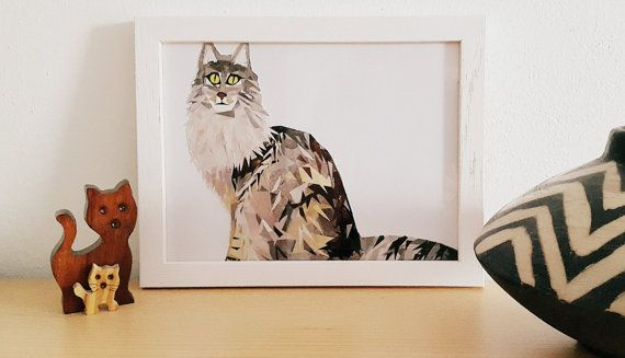 Norwegian Forest Cat Portrait Mosaic from Pieces of by PinkBau