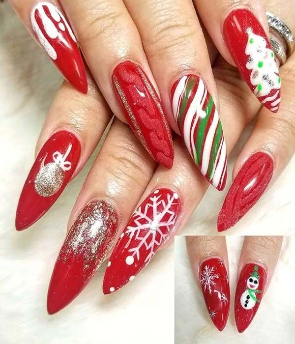 Cute Christmas Color Nail Art Design Idea 2019