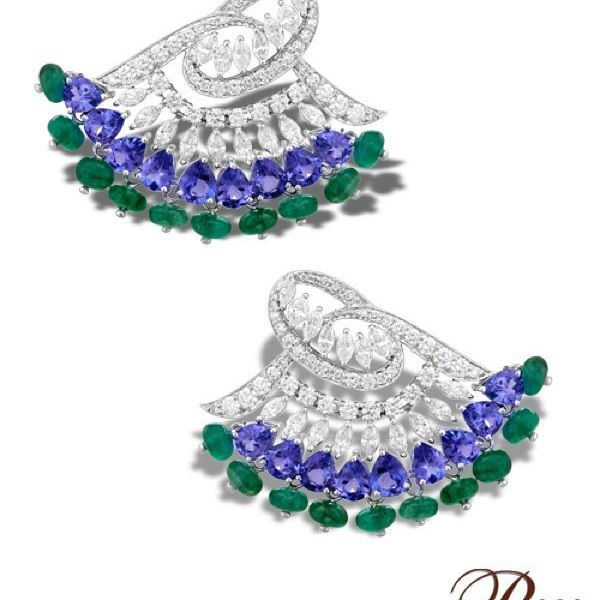 These stunning earrings have been crafted in a beautiful amalgamation of brilliant and marquise-cut #Diamonds with pear-shaped #Tanzanites and #Emerald beads, set in 18K White #Gold from #TheHouseofRose. #Luxury #jewellery #india #mumbai #delhi