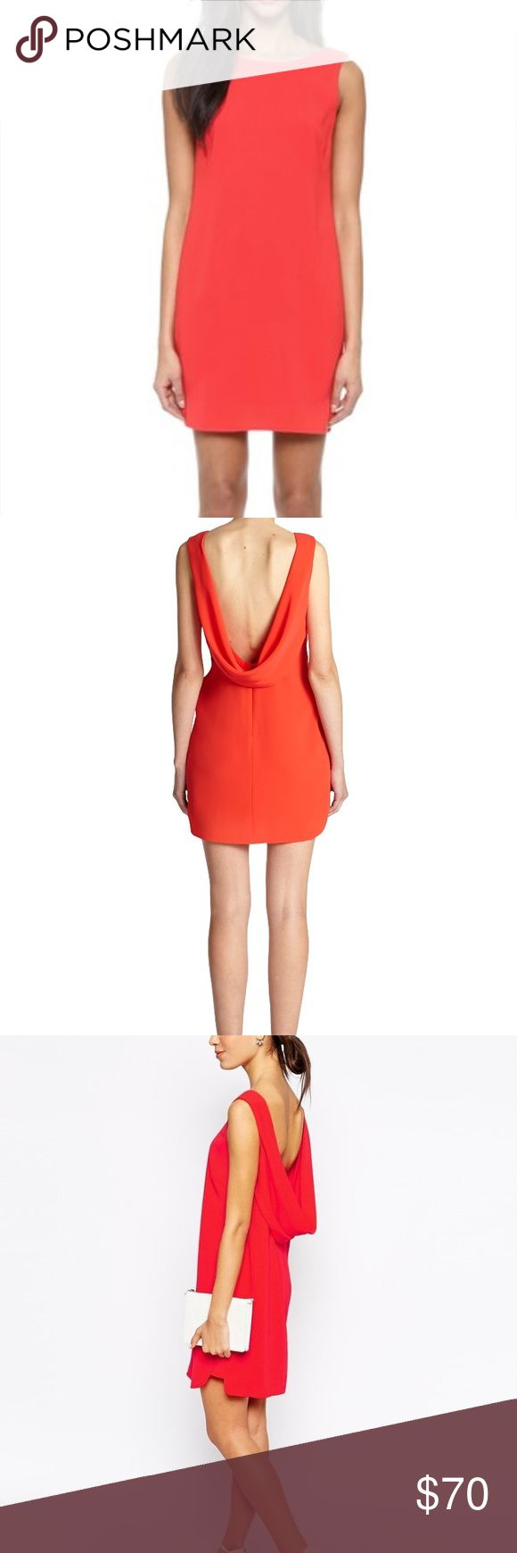 BCBG MaxAzria Cowl Back Shift Dress Low back red zip up dress. Shell is 23% polyester 77% triacetate. Lining is 100% polyester. BCBGMaxAzria Dresses