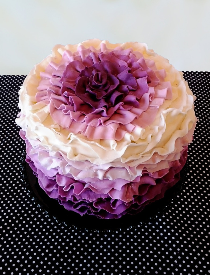 White to purple Ruffle cake ~ almost too pretty to eat!