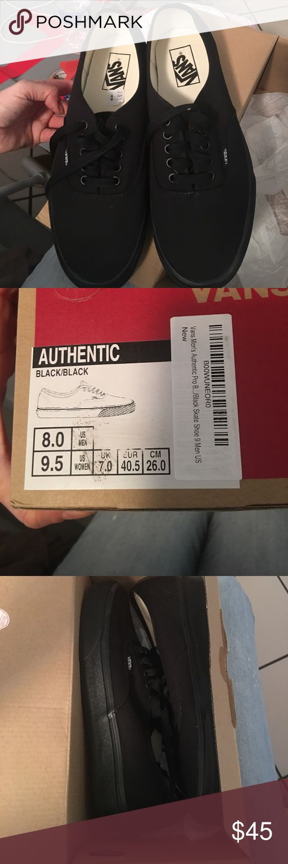 Vans Men/Women Authentic Pro Skate Shoe Black Brand new with box Vans Men's Authentic Pro Skate Shoe Black/Black. Mens size 8 and woman's size 9.5. Solid black from head to toe. You can never go wrong with a pair of vans. Definitely a great shoe for all to enjoy! vans Shoes Sneakers