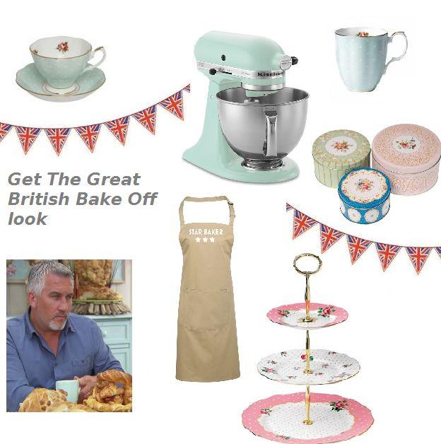Get The Great British Bake Off Look featuring : Kitchen Aid Mixer, Regency Cake Tins, 100 years of Royal Albert Polka Rose China, Royal Albert Vintage cake stand