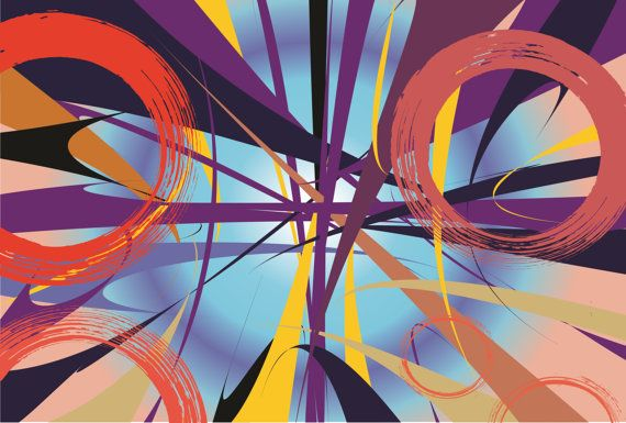 cercles want to meet at center Modern PaintingAbstract by artfuns