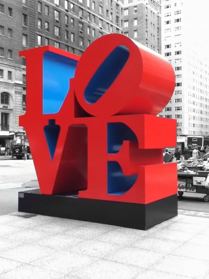 Robert Indiana's pop art creation -   The LOVE sculpture, Midtown Manhattan  1350 6th Avenue (and West 55St)