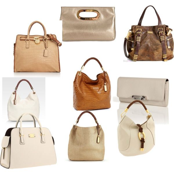 Micheal Kors Purses I like, all in neutral shades., created by ginahsmith on Polyvore
