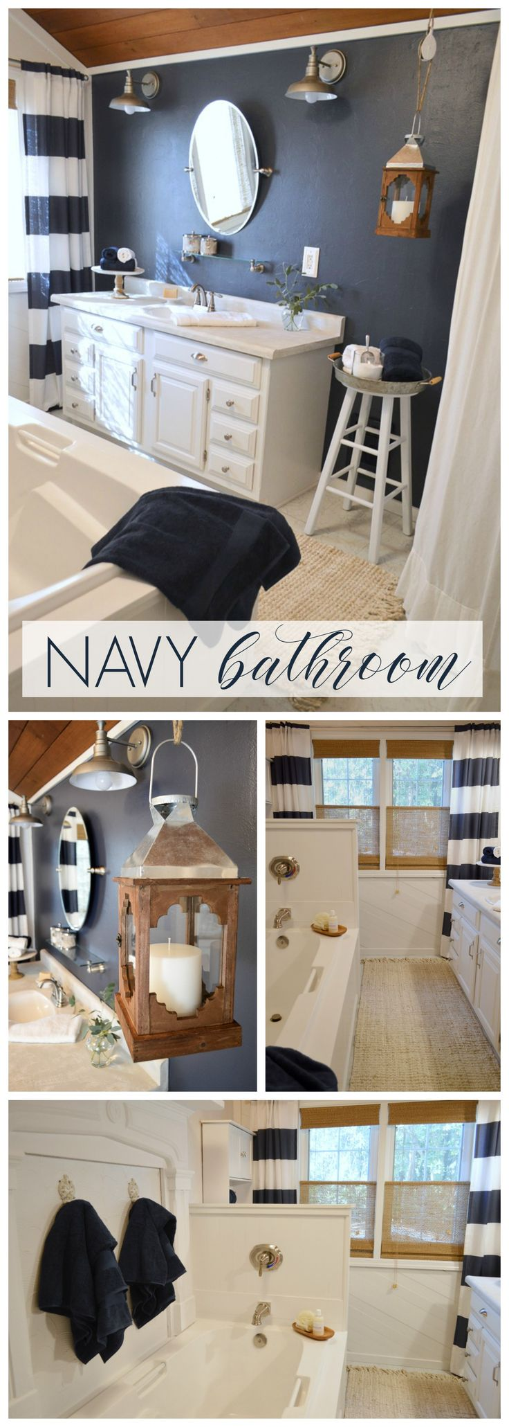 Dark blue and white bathroom - Navy Blue Cottage Bathroom Makeover