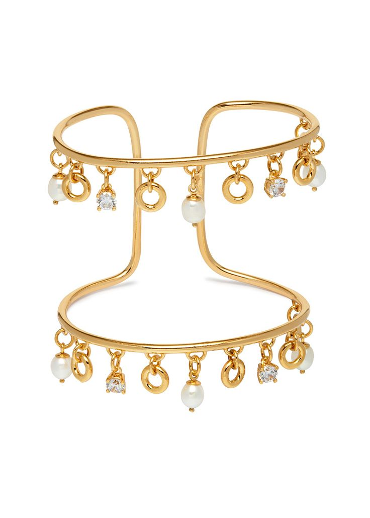 Maria Francesca Pepe SS17 'PRINCESS OF PEARLS' CUFF BRACELET WITH PEARL CHARMS
