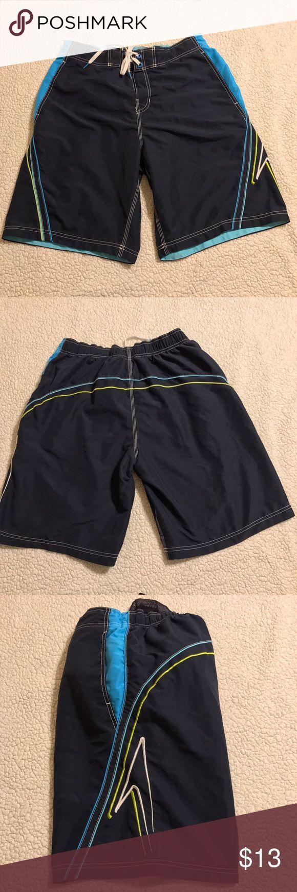 """Speedo SWIM Trunks Navy & Blue MESH Lined Mens Speedo SWIM Trunks Board Shorts Large Navy & Blue MESH Lined L inseam 10.5"""" Speedo Swim Swim Trunks"""