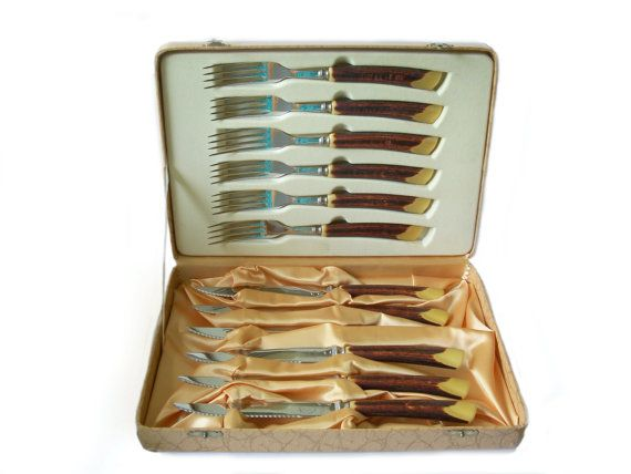Vintage Glo Hill Cutlery Steak Knifes Fork by MargsMostlyVintage, $46.00