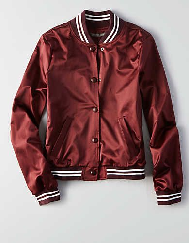 Don't Ask Why Bomber Jacket, Burgundy | American Eagle Outfitters