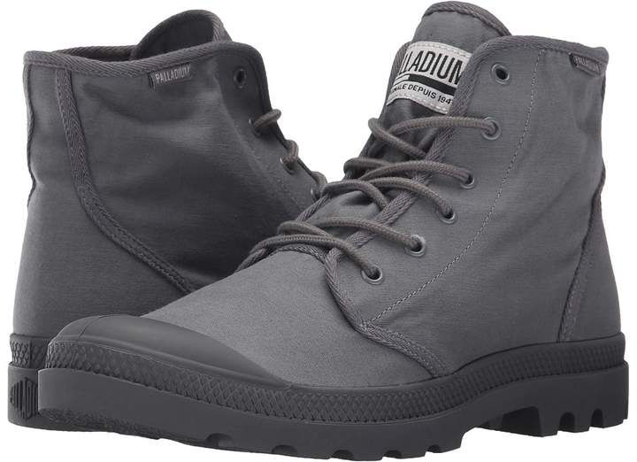 Palladium Pampa Hi Originale TX (Army Green/Castlerock) Lace-up Boots ($45)  ❤ liked on Polyvore featuring shoes, boots, green, urban boots, fake bo…