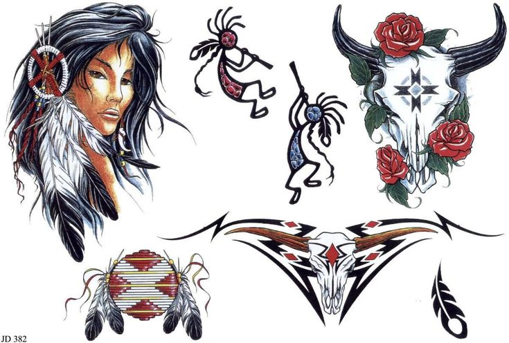Colorful Indian Tattoos Designs Ideas
