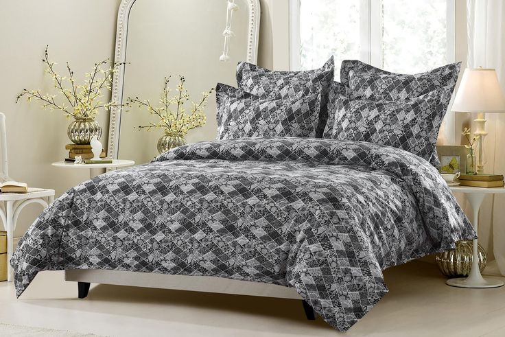 King 5pc Black and White Floral Diamond Patchwork Duvet Cover Set Style # 1047 - Cherry Hill Collection -King / Cal King