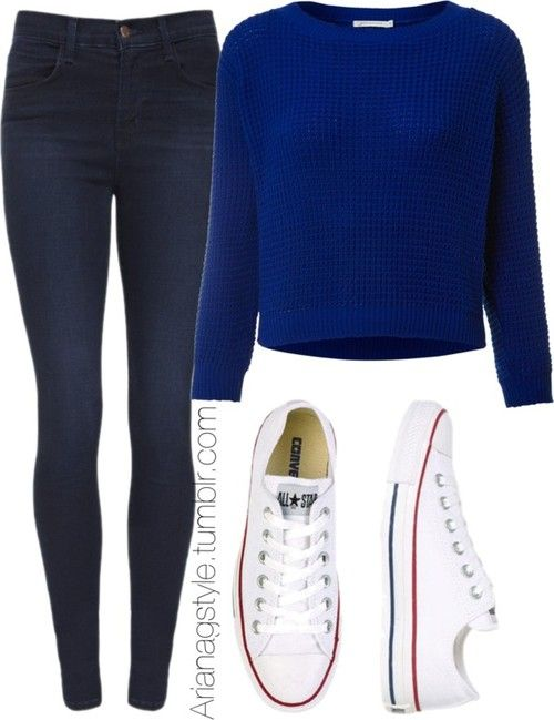 high waisted jeans with blue sweater outfit