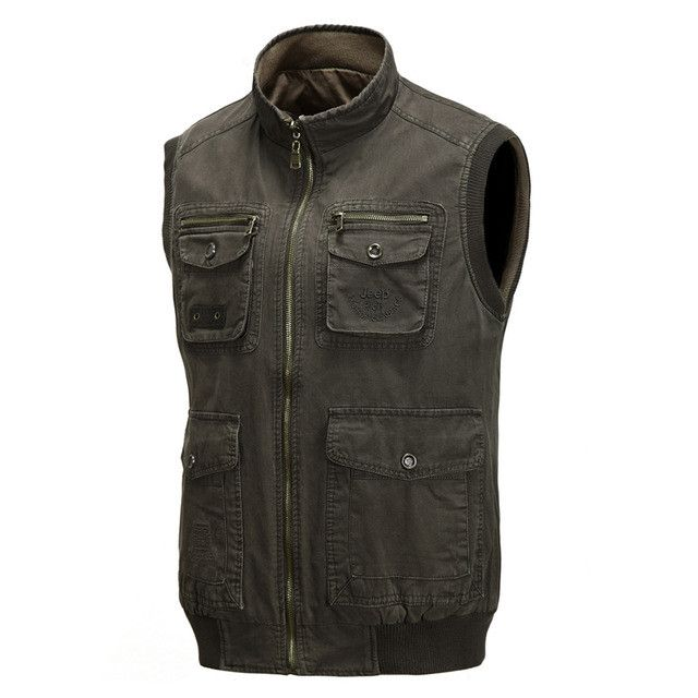 Autumn Winter Waist Coat Men Pocket Vest Jacket Casual Reversible Vests Classic Warm Waistcoats Photographer Vest