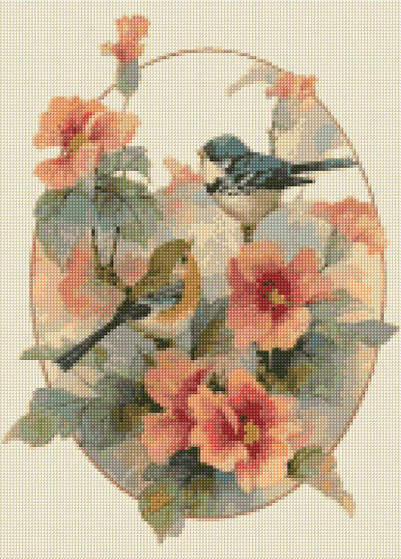 Victorian Cross Stitch pattern of Watercolor Birds and Flowers - PDF - Instant Download!
