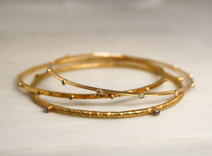 SET - 3 Solid Gold Diamond Bangle Bracelets in 18K Solid Gold