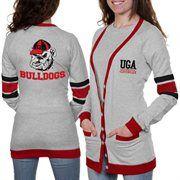 Georgia Bulldogs Ladies Study Hall Long Sleeve Cardigan - Ash