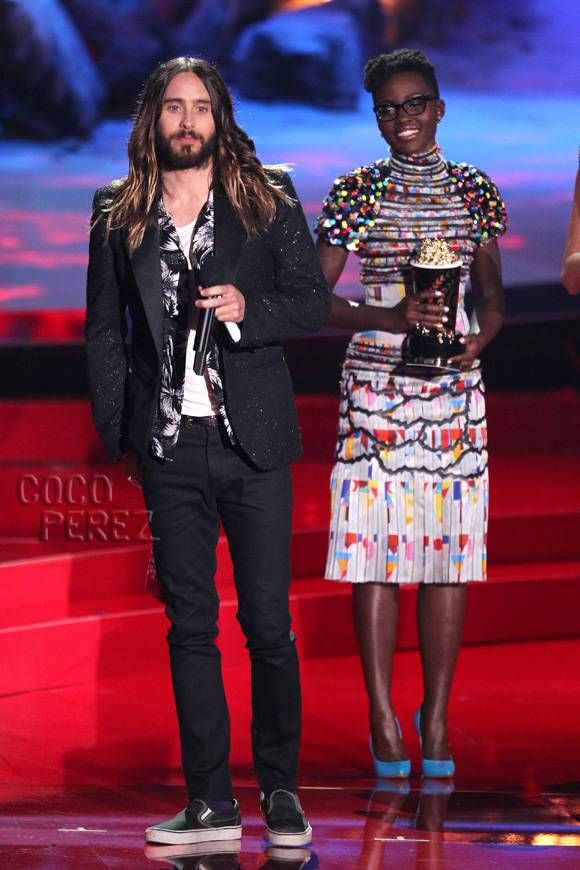 Jared Leto's Style Is Enhanced With Lupita Nyong'o By His Side At The MTV Movie Awards! #BestDressed #MTV