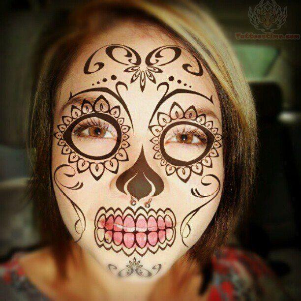 Skull Face Tattoo | sugar-skull-face-tattoo.jpg