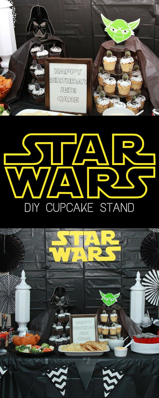 Planning a Star Wars Party? Check out these easy DIY Star Wars themed cupcake stands. What's a Star Wars party without Darth Vader and Yoda?