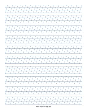 This Calligraphy Guide Paper Features Sets Of Blue