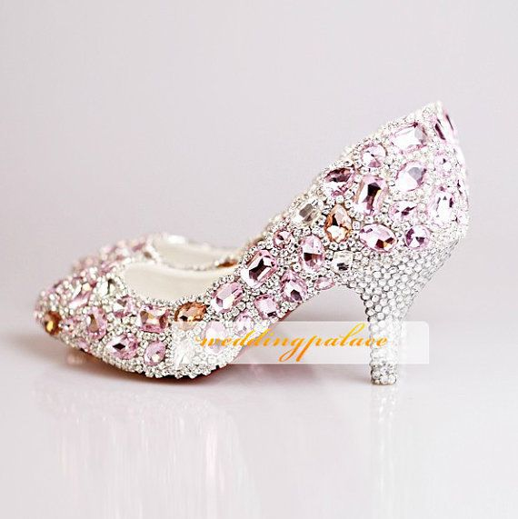 Wonderful Pink Crystal Prom Shoes, Bling Bridal Shoes. Unique Crystal Wedding Shoes ,  Bridal High