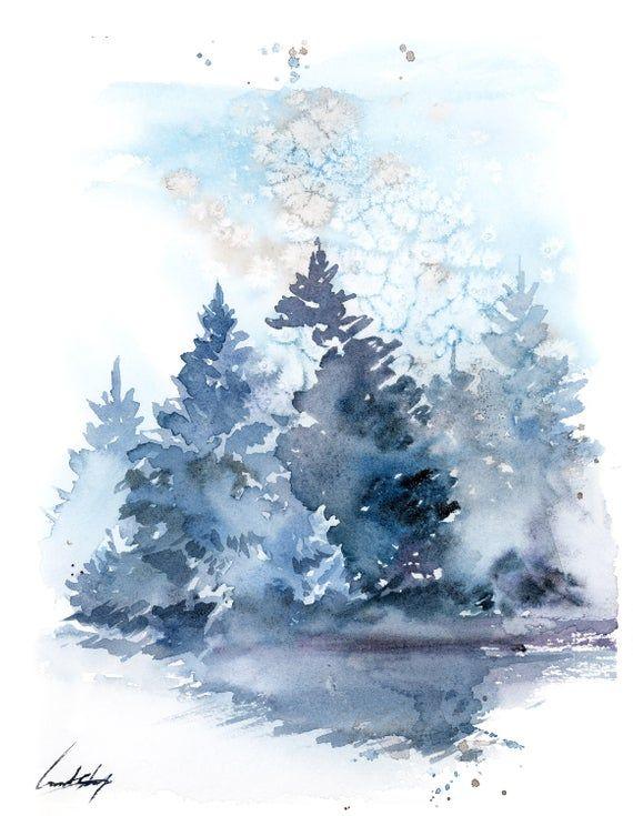 Pine Trees Landscape Painting Winter Landscape Original Watercolor Painting Snowy Nature Blue Loose Painting By Canotstop Watercolor Landscape Paintings Landscape Sketch Tree Artwork
