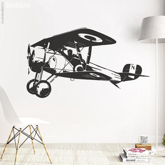 Flugzeug Doppeldecker  Wandtattoo Wandsticker von Grafolex auf Etsy