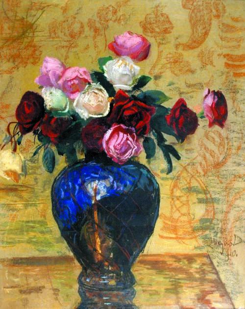 Leon Wyczolkowski - Still Life with roses 1910 - pastel