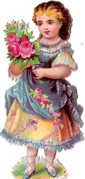 Oblaten Glanzbild scrap die cut chromo Kind child Blumenstrauß flower bouquet