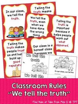 This Classroom Rules reader will teach your students about telling the truth. A great addition for any K - 2 classroom! Includes; 1) A book that can be bound together or used as posters. 2) Student reader. Students fill in the missing words and colour in the pictures.
