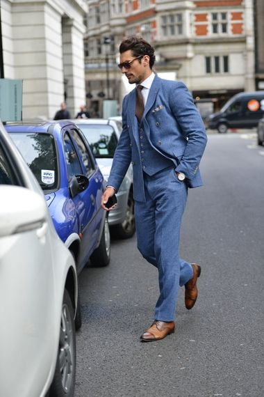 All blue and happy about it. #London street style.