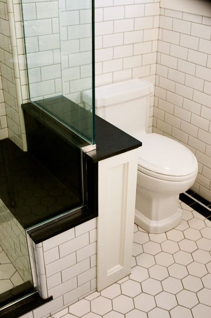 Deco Bathroom, Polished Chrome Fixtures & Hexagon Tile - Traditional Bathroom By Atomic * Design