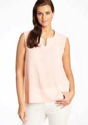 Effen mouwloze blouse met pailletten - LIGHT PINK - 05002226_1303