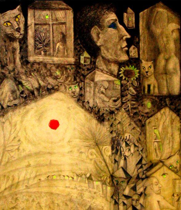 Soarele rosu, ochii galbeni, lacrimile albastre.varianta la gravura plimbarea de seara.aquaforte si aquatinta.detaliu