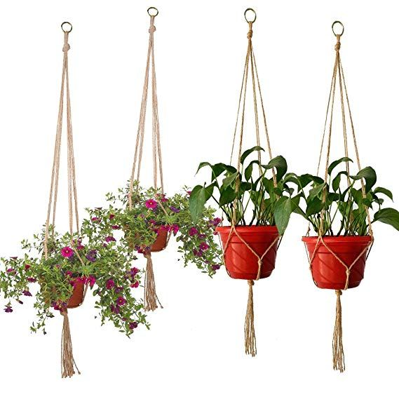 Plant Hanger Set Of 5 Hanging Planter Flower Pot Plant Holder With Key Ring For Indoor Outdoor Decorations Plant Hanger Flower Pot Holder Macrame Plant Hanger