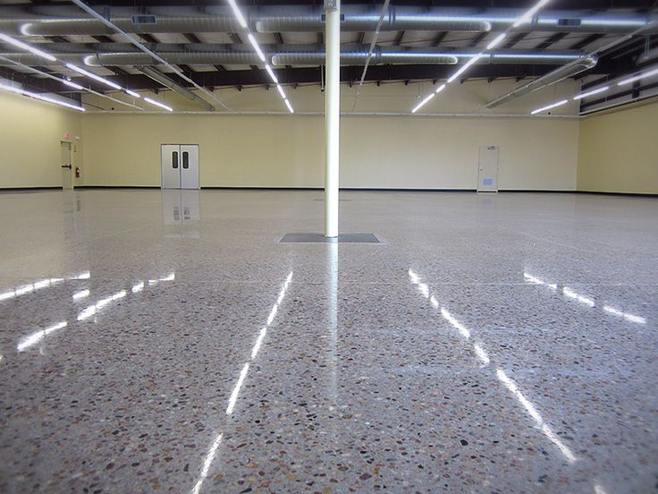 Polished concrete is a fantastic surface for commercial projects too! This warehouse gets a facelift from the ground up with a polished concrete flooring which has been ground down to expose small stones and aggregate.