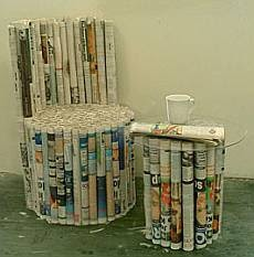 paper chair and stool