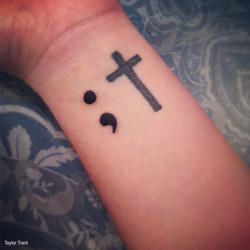 Project Semicolon - Semicolon cross Tattoos with meaning / Fighting mental Illness / Depression / Hope & Faith / Not the end / New beginning / Cross Tattoo / Christian Tattoo
