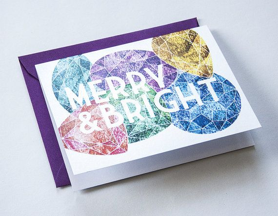 MERRY & BRIGHT Colorful gems on a shimmering by DanielleSayer, $4.00