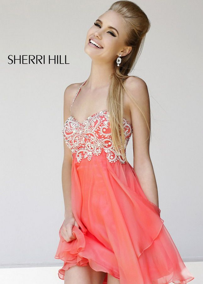 cheap homecoming dresses   ... Dresses :: Coral Halter Neck Beaded Top Layered Homecoming Dress Cheap