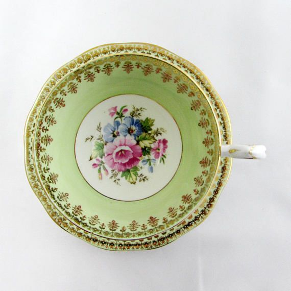 Queen Anne Green Tea Cup and Saucer with Floral Center, Vintage Bone China