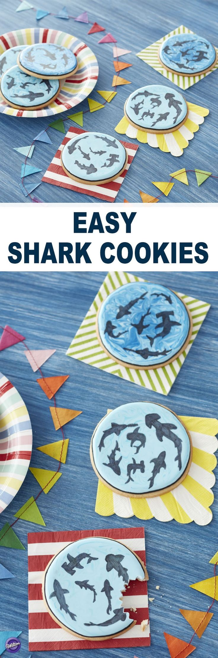 Kick off your jaw-some celebration with these Shark Cookies. Made using royal icing and FoodWriter markers, these roll-out cookies showcase great whites, hammerheads, nurse sharks and more. A delicious bite for anyone who loves these denizens of the deep, these Shark Cookies are a great way to kick off the best week of summer!