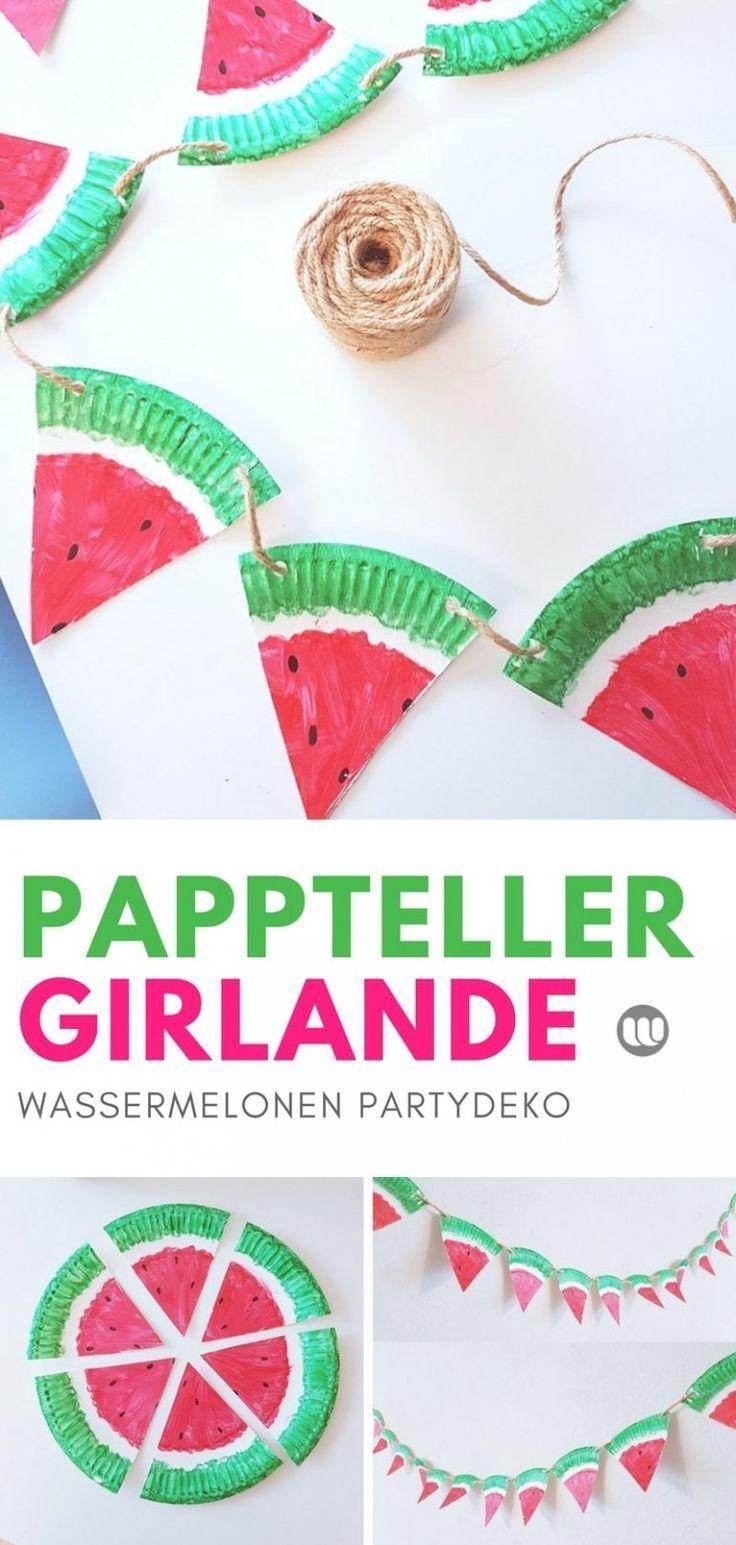 Fruchtige Wassermelonen Girlande aus Papptellern selber machen