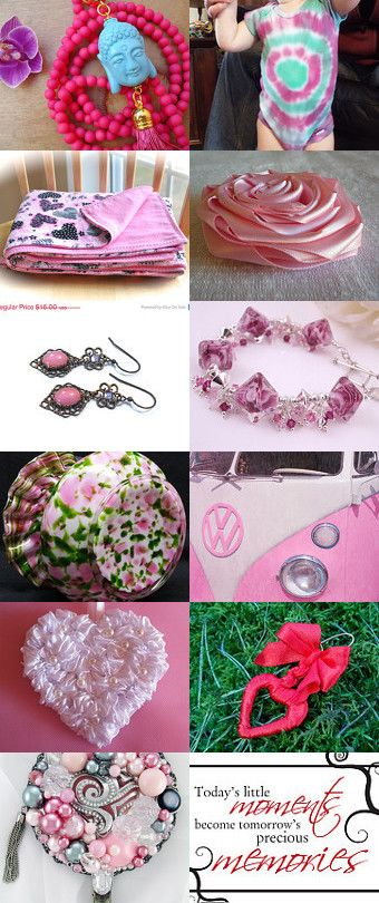 Oh my gosh - it's #PINK!!!! by Nadine Manger on #Etsy #treasury #handmade #etsystore #pink #red #accessories #jewelry #llpteam